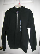 New!! Mens Hoodie Zip Front Sweat Jacket Black Hooded Fleece GILDAN Size M, L