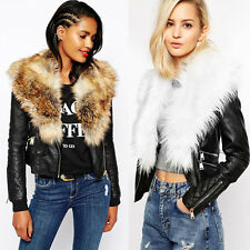 Womens Motorcycle Faux Fur Collar Trench Coat Punk Zipper Leather Jacket Outwear