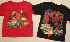 Navy 2T Spiderman or Red 3T DISNEY Cars Shirt Choice NWT Cotton Short Sleeve