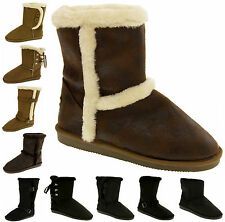 Womens RED ROCK Suede Effect Ladies Warm Fur Lined Winter Boots Size 3 4 5 6 7 8