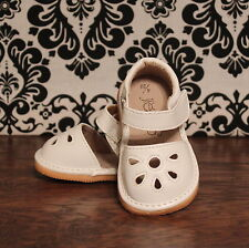 White Flower Punch Toddler Girl Squeaky Sandals Shoes, Sizes 3, 4, 5, 6, 7, 8