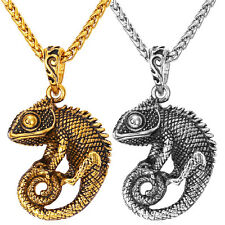 Chameleon Animal Pendant 316L Stainless Steel Necklaces Cool Men's Jewelry