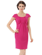 Ladies Scoop Neck Cap Sleeve Ruched Detail Front Straight Dress