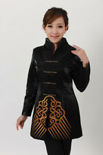 Charming Chinese Women's Silk jacket /coat Black Sz 8 10 12 14 16