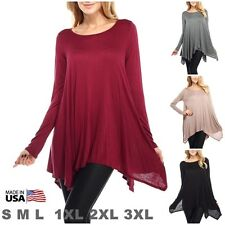 USA Womens Dolman Top Shirt Long Sleeve Scoop Neck Asymmetrical Tunic SML PLUS