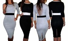 New Sexy Black White Panel Office Work Smart Pencil Wiggle Midi Dress 8 - 18