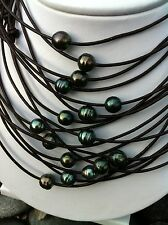 Real Tahitian Black Ocean Pearl Natural Leather Necklace/Choker Surf Jewelry