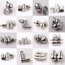 10Set Silver Plated Strong Magnetic Round Clasps Tube Barrel Jewelry Makings DIY