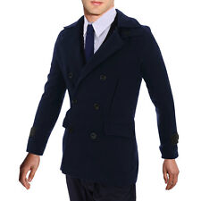 Men Fashion Faux Leather Button-Tab Cuff Design Worsted Overcoat