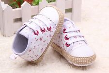 Infant Baby Girl Gray Crib Shoes Casual Floral Shoes Size 0-6 6-12 12-18 Months