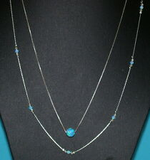 Two Layered Necklaces Sterling Silver 925 Chains 8mm OPAL Bead & Beads Station