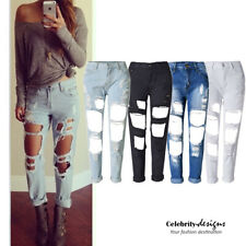 jn43 CFLB Ripped Boyfriend Distressed Destroyed Womens Jeans Size 10 12 14 16