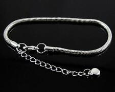 Snake Chain Heart Silver Clasp Bracelet Fit DIY European Beads Charms 16-23cm