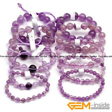 "Handmade Natural Light Purple Amethyst Beaded Stretchy Bracelet 7 1/2""Adjustable"