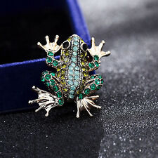 Vintage Gold/SilverCrystal Rhinestone Green  frog Brooch Pin Animal Jewelry