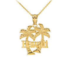 Yellow 14k Gold Hawaii Palm Tree Pendant Necklace