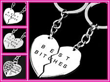 Silver Plated Heart Best Friend Bitches Mother Daughter LOVE Key Chain Ring USA
