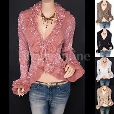 Unique Ruffles Fluffy Fringes Tie Front Cardigan Sweater Jacket