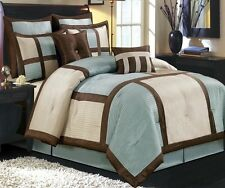 8pc MODERN Blue Brown Block Frame BEDDING Comforter PILLOWS Bed Skirt SET