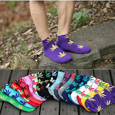 Sport Cotton Women Men Marijuana Weed Leaf  Hot Socks Ankle Maple Crew kWZ23