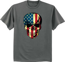 USA skull t-shirt American flag shirt men's dark gray biker t-shirt skull design