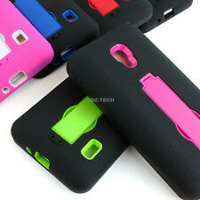 For LG Optimus F6 D500 MS500 Rugged Impact Hybrid Hard Case Cover Kickstand