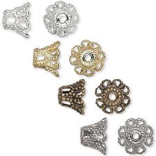 10 Filigree Basket Accent Bead End Caps for 7mm-9mm Loose Beads Brass Metal