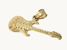 Solid Gold Electric Guitar Pendant Musical Instrument Rock n Roll