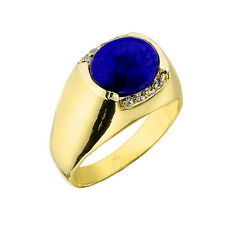 14k Solid Yellow Gold 3.08CT Lapis Gemstone and 0.15CTW Round Diamonds Mens Ring