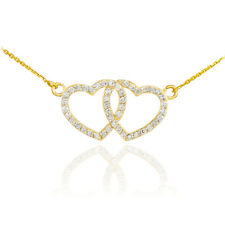 14K Yellow Gold Double Open Heart Pendant Necklace with CZ Valentine's Day Gift