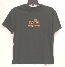 Harley-Davidson Youth S/S Black Shirt with Embroidered Orange Motorcycle