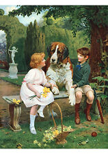 Children with St. Bernard by Arthur J. Elsley (Art Print of Vintage Art)