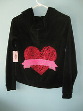 NWT Juicy Couture Black Girls Velour Hoodie Red Juicy Heart Graphic