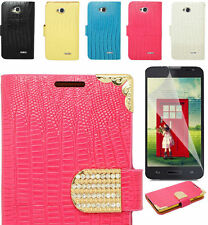 Screen Protector+Croc Wallet Case Cover For LG Optimus L70 MS323 MetroPCs Phone