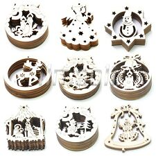 10 pcs Wooden ChrIstmas Angel Snowman Bell Star Gift Tags Plain Xmas Decorations