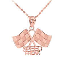 Fine 14k Rose Gold Racing Checkered Flags with Speed Freak Charm Finish Line!
