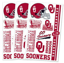3 PK OKLAHOMA SOONERS TEMPORARY TATTOOS FACE BODY GAME DAY TAILGATE PARTY
