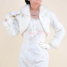 NEW Ivory Faux Fur Wedding Bolero Jacket Bridal Wrap Bridesmaid Shrug Coat S-L