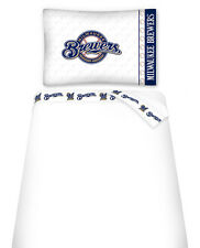 MILWAUKEE BREWERS SHEET SET, TOSS PILLOW & PILLOW SHAM