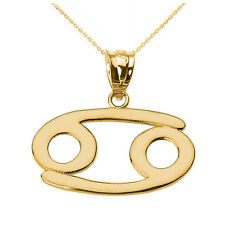 Fine 10k Yellow Gold Cancer July Zodiac Sign Horoscope Pendant Necklace