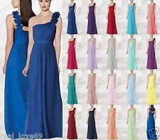 Long Chiffon Bridesmaids One Shoulder Evening Wedding Formal Party Prom Dresses