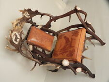 deer antlers chair with leather armchair with leather hunter decoration #85.138