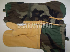 US Army Cold Weather Trigger Finger Shell Gloves + Mittens Insert + OD Scarf GI