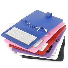 """Universal Stand Leather Case Cover for Android Tablet 7.9"""" 8"""" 9"""" w/ USB Keyboard"""