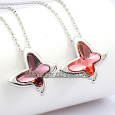 Fashion Rhinestone Colorful Butterfly  Necklace Pendant Charm 18KGP Crystal