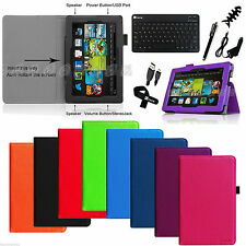 Kindle Fire HD 7 4th Gen Tablet 2014 model Leather Case Cover Bluetooth Keyboard