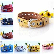 Fashion Boys Girls Floral Design Candy Color Buckle Waistband Kids Causual Belts