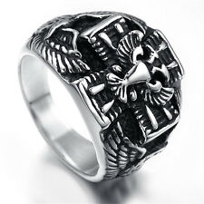 Mens Stainless Steel Ring, Vintage, Eagle KR2020