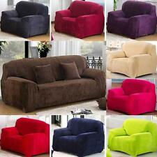 Super Thick Heavy 8 Solid Colour Plush Couch Stretch Sofa Cover 1  2 3 4 Seater