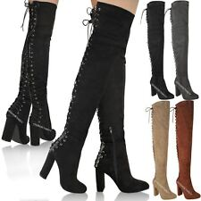 WOMENS LADIES OVER KNEE THIGH HIGH BLOCK HEELS LACE UP BACK SEXY STRETCHY SIZE